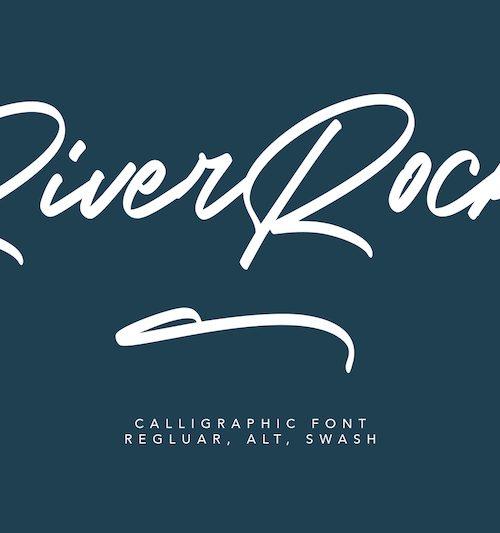 River-Rocks-Brush-Font-1