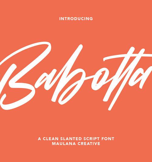Babotta Clean Slanted Script Font 1